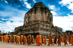 Been there gallery Dec 11: Monks circling Wat Chedi Luang in Chiang Mai, northern Thailand