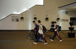 Team Pursuit Boot Camp: Swift, Harrison and Kennaugh leave the velodrome in the evening