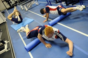 Team Pursuit Boot Camp: Track cycling team in the gym at the end of the day