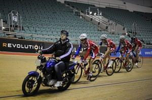Team Pursuit Boot Camp: Endurance head coach Dan Hunt pacing the team on a motorbike