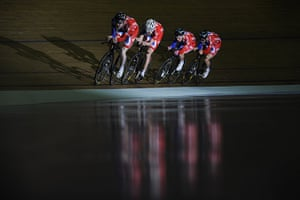 Team Pursuit Boot Camp: Clancy, Harrison, Kennaugh and Swift at track cycling team pursuit training