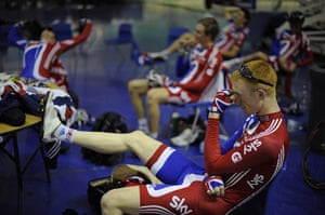 Team Pursuit Boot Camp: Ed Clancy looks tired during a break in the morning session.