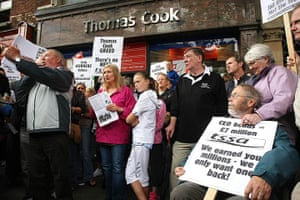 Thomas Cook: Workers of Thomas Cook and their supporters hold a demo
