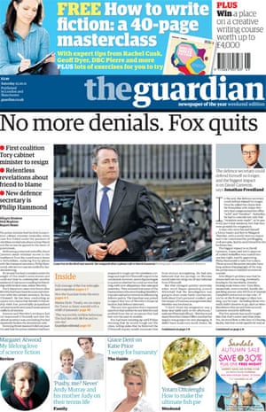 October 14 Fox quits frontpage