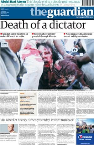October 20 Gaddafi frontpage