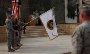 US troops in Baghdad lower the US forces-Iraq colours