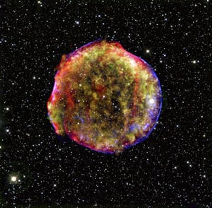 Year in Science: This composite image of the Tycho supernova remnant combines infrared