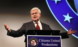 Republican presidential candidate Newt Gingrich at the screening of a pro-life documentary in Iowa