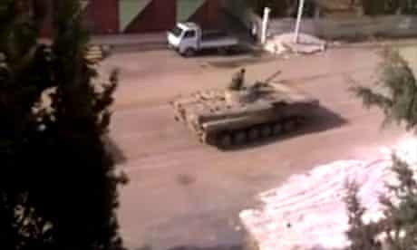 An image released by a group called Ugarit News purporting to show tanks in Deraa, Syria