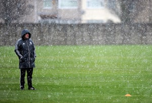 UK Weather: Liverpool FC Training Session
