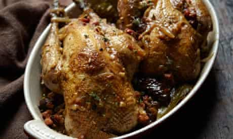 Pheasant with prunes and bacon