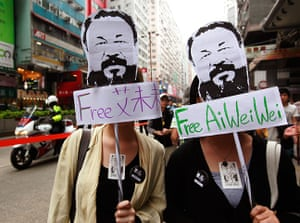 Faces of the year: Demonstrators call for the release of Ai Weiwei