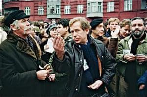 Vaclav Havel: aclav Havel addresses the crowd of demonstrators, Prague