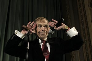 """Vaclav Havel: Vaclav Havel at the premiere of his new film """"Leaving"""" in Prague"""