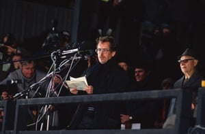 Vaclav Havel: 1989: Vaclav Havel speaks to a crowd during the Velvet Revolution in Prague
