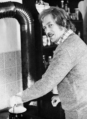Vaclav Havel: 1960: Vaclav Havel cooking at his home in Hragecek
