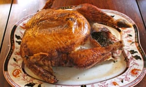 A fully cooked, barbecued turkey