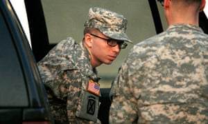 Bradley Manning arrives at the court facility at Fort Meade