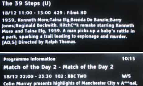 Malfunction ... Virgin Media's electronic programme guide