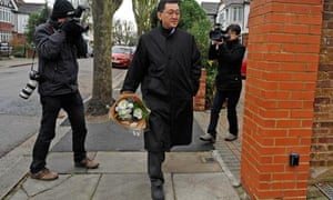 Mourner arrives at North Korea's UK embassy