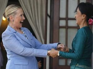 Hillary Clinton Burma: Hillary Clinton is greeted by Aung San Suu Kyi