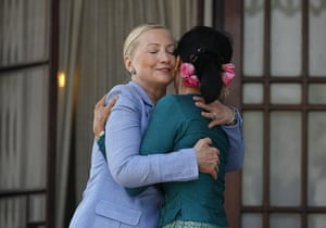 Hillary Clinton Burma: Hillary Clinton hugs Aung San Suu Kyi as they meet in Rangoon