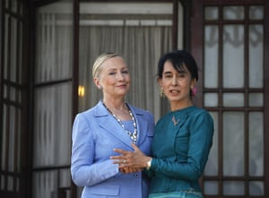 Hillary Clinton Burma: Hillary Clinton is greeted by Aung San Suu Kyi at her home in Rangoon