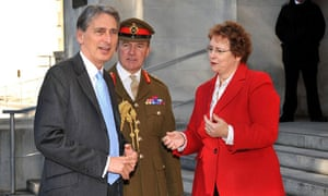 Ursula Brennan and Sir Nicholas Houghton greet Philip Hammond