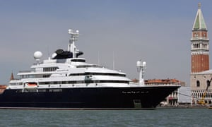 the yacht of Microsoft Corp. co-founder billionaire Paul Allen, is moored off Venice's Grand Canal