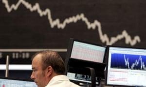 Falling stock exchange