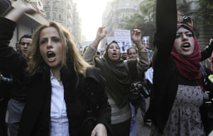 women protest in cairo: Women chant anti-military  slogans