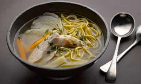 Chicken soup with egg vermicelli