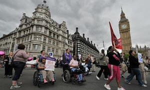 Disabled protesters outside parliament