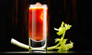 Bloody Mary, containing tomato juice, vodka, celery, pepper and Tabasco sauce