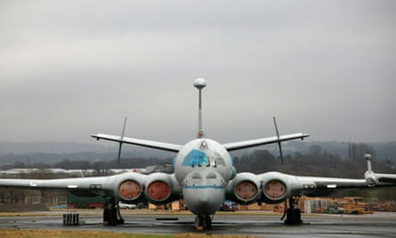 A Nimrod MRA4 reconnaissance aircraft waiting to be scrapped at the BAE Systems factory in February.