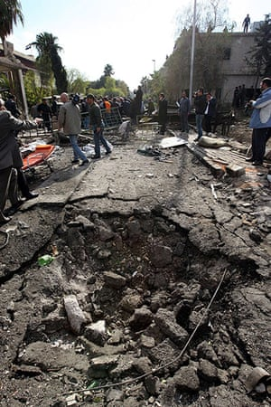 Damascus Suicide Bombing: A crater left by the explosion