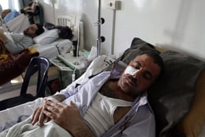 Damascus Suicide Bombing: A Syrian man who was wounded resting in hospital