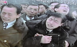 Kim Jong-il funeral: Men in mourning during the procession