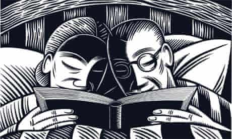 Clifford Harper illustration of a woman and man reading in bed