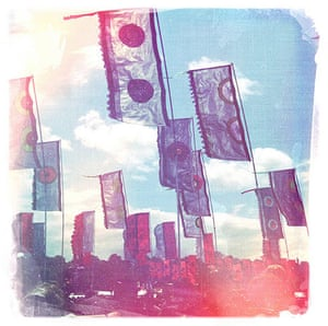 iPhone photos of the year: Glastonbury, UK: Flags in the sun at Glastonbury Festival