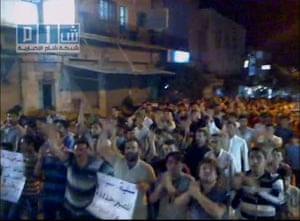 Camera phones: 3 August 2011: Syrian protesters march and chant slogans