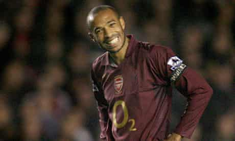 Henry of Arsenal reacts after narrowly missing with free kick against Manchester United in London