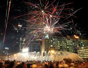 New Year celebrations: downtown Jakarta