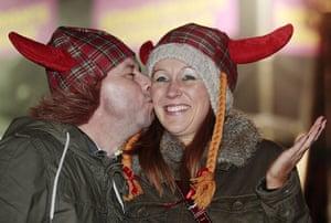 New Year Celebrations: New Year revellers at the Hogmanay celebration in Edinburgh