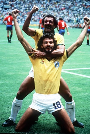 Socrates  : Socrates celebrates after scoring against Spain with Junior 1986 world cup