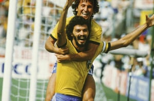 Socrates  : Socrates and Zico celebrate in the 1982 world cup match against italy