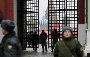 russia elections: Russian police officers block Red Square