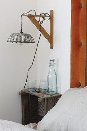 Brighton house: bedside table and light