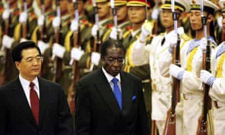 Hu Jintao and Robert Mugabe