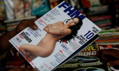 The cover of FHM India showing Veena Malik